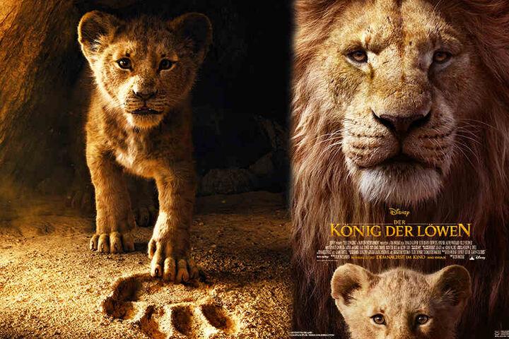 """Das Hauptplakat (r.) und das Teaser-Plakat zur Neuverfilmung von """"Der König der Löwen"""". (Bildmontage)"""