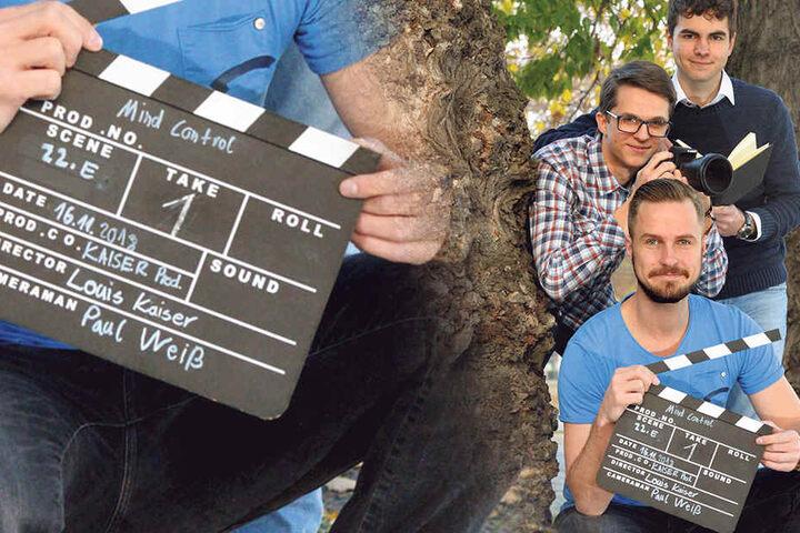"""Hauptdarsteller Richard Gerk (30), Kameramann Paul Weiß (18) und Regisseur Louis Kaiser (17, von vorn) haben zusammen """"Mind Control"""" gedreht."""
