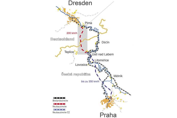 Alt und neu: Bislang tangiert die Strecke auf deutschem Gebiet hinter Pirna (oben rechts) das Elbtal. Zehntausende Anwohner leiden unter dem Lärm. Die neue Strecke (rot) verläuft weiter westlich.