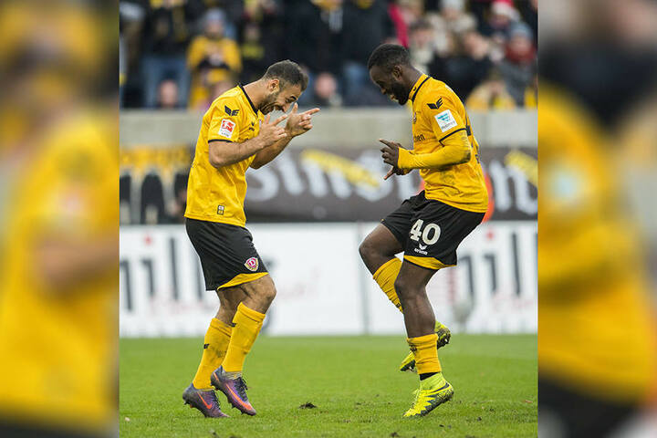 Erich Berko (r.) und Akaki Gogia wollen am Samstag wieder ein Tor betanzen.