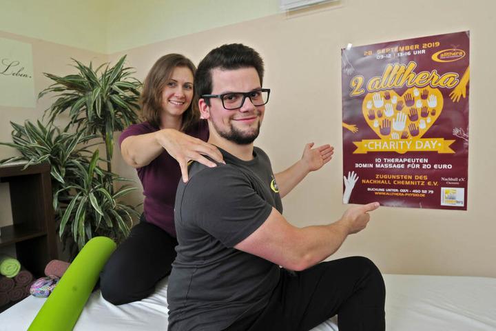 Carina und Vitalij waren zwei von zehn Therapeuten, die beim Charity Day dabei waren.