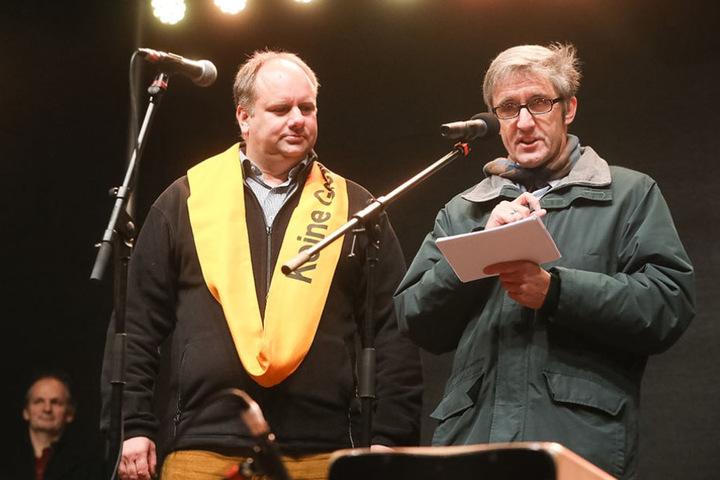 Auch ernste Veranstaltungen wie das Bürgerfest auf dem Neumarkt gehörten zu den  vielen Pflichtterminen von OB Dirk Hilbert.