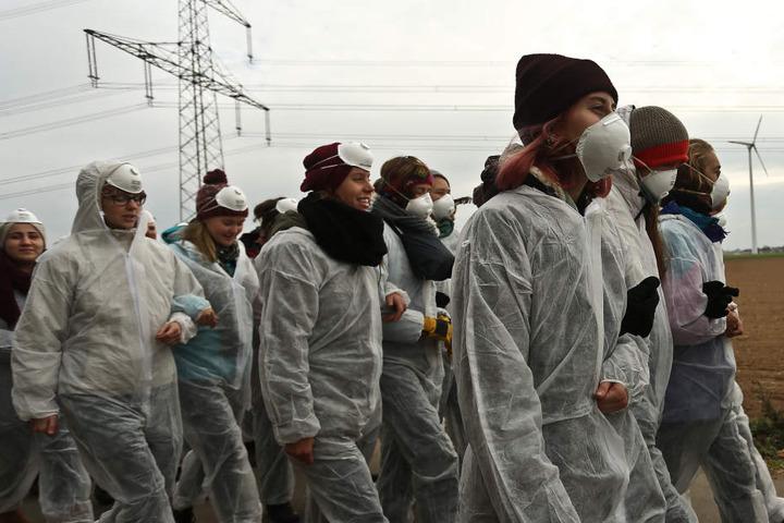 Aktivisten gegen Braunkohle im Rheinischen Revier.