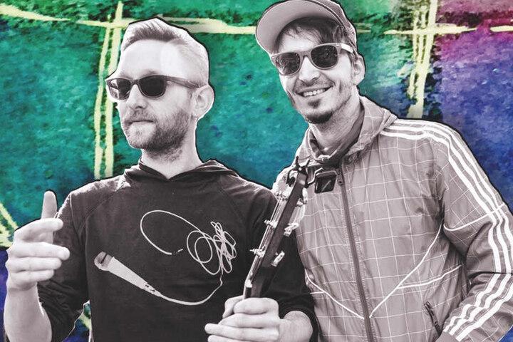 """Dozenten an der Kinder-Uni: Karsten Zippe und Ronald Herzog (beide 39) sind als Band """"Funny Hänsel"""" bekannt."""