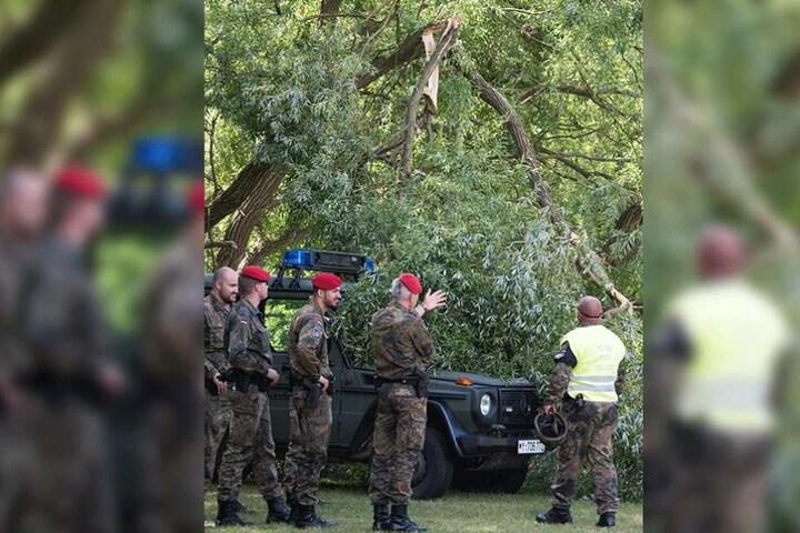 Bundeswehrsoldaten betrachten einen durch den Hubschrauber verursachte Baumbruch.