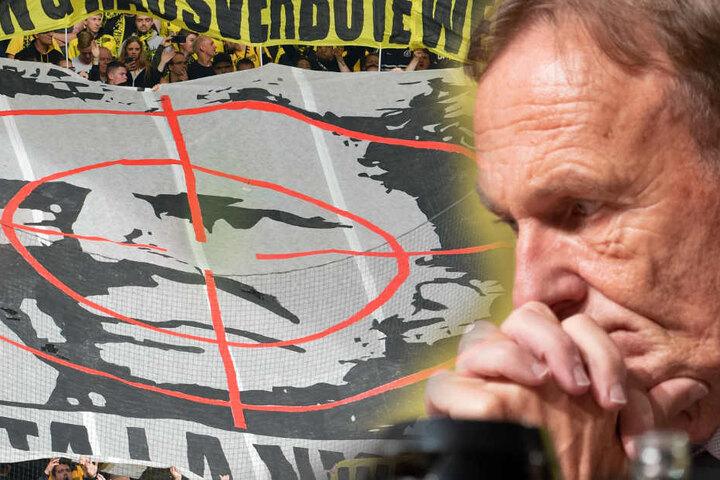 Hans-Joachim Watzke hat sich damals für das Verhalten der BVB-Fans entschuldigt. (Fotomontage)