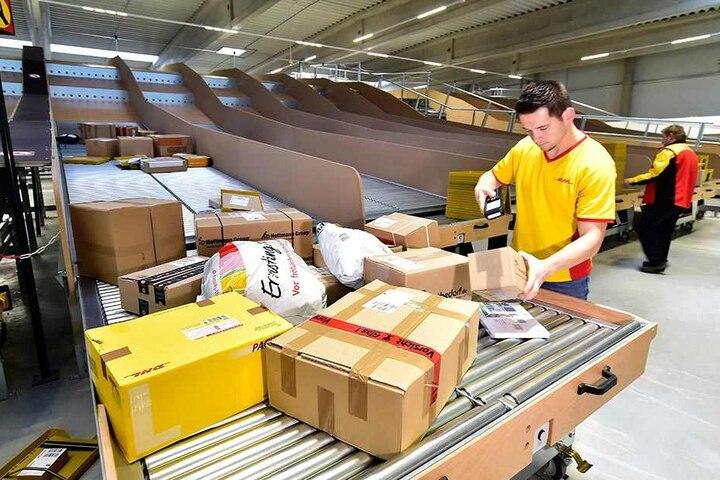 Mitarbeiter Gary Hölzel (31) erfasst die Pakete zur Verladung in die Zustellfahrzeuge.
