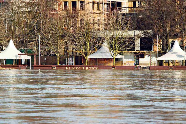 Hochwasser am Elbegarten. Dahinter das ehemalige Hotel Demnitz.