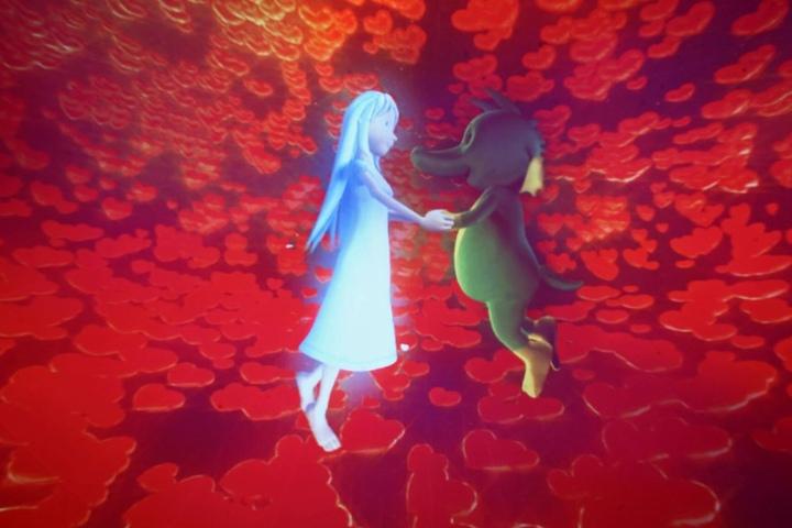 Im Traum darf Tabaluga noch einmal mit seiner geliebten Lilli tanzen.