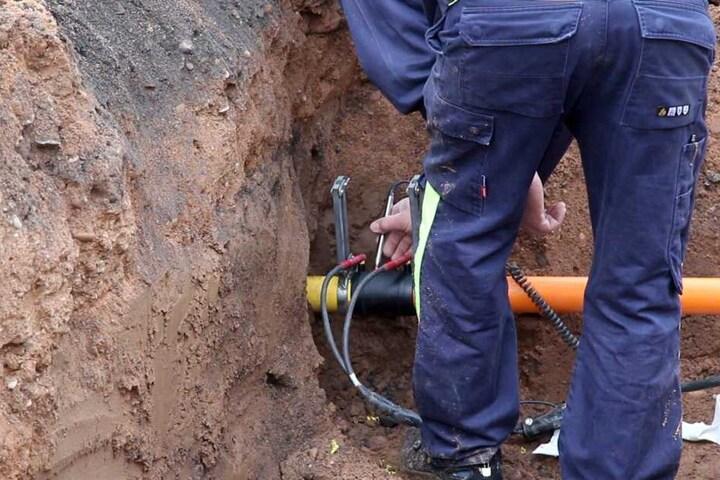 Der Gasversorger machte sich schnell an die Reparatur des Lecks.