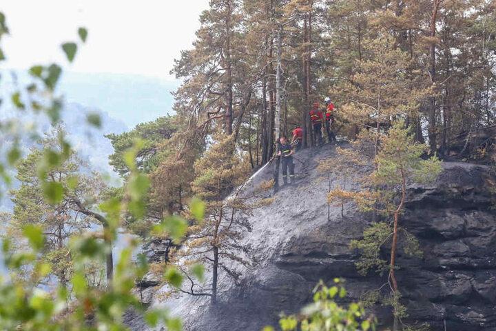 Auch am Freitagmittag waren die Feuerwehr noch mit dem Löschen des Brandes beschäftigt.
