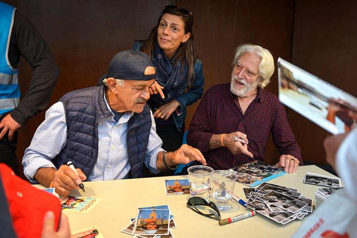 "Stars des Italo-Westerns: Bud Spencers ""Prügelknabe"" Riccardo Pizzuti (84, r.) mit Kollege Sal Borgese (81, l.)."