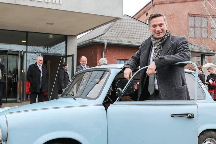 Industriekultur live: Wirtschaftsminister Martin Dulig (44, SPD) fuhr mit einem Trabi durch Zwickau.