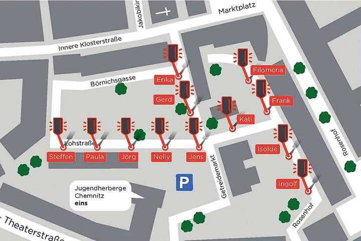 Im Internet ist eine Karte des Getreidemarktes zu sehen, mit der  Chemnitzer über den Lichtton abstimmen können.