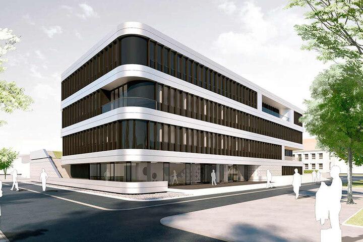 Dieses neue Gebäude für das Nationale Centrum für Tumorerkrankung (NCT)  entsteht derzeit an der Uni-Klinik.