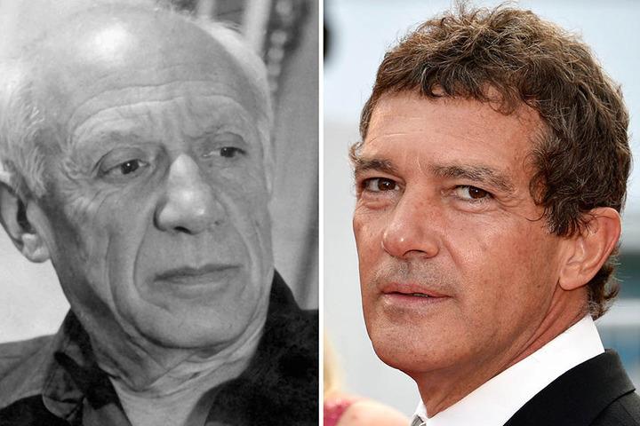 Die Bildkombo zeigt den Maler Pablo Picasso (li., undatierte Aufnahme) und den Schauspieler Antonio Banderas.
