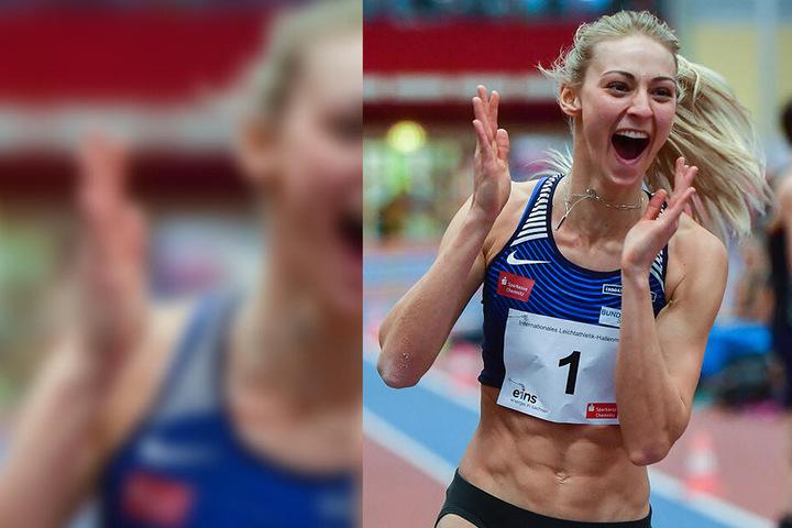 Kristin Gierisch konnte ihr Glück kaum fassen, sie hat den deutschen Hallenrekord geknackt.