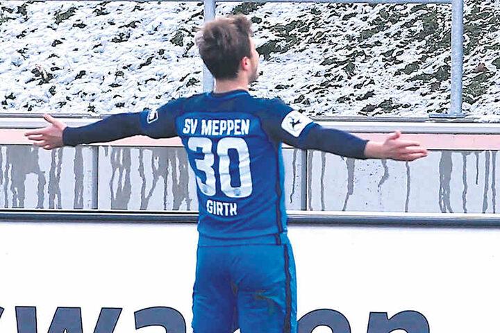 Wie schon im Hinspiel konnte Meppens Benjamin Girth jubeln.