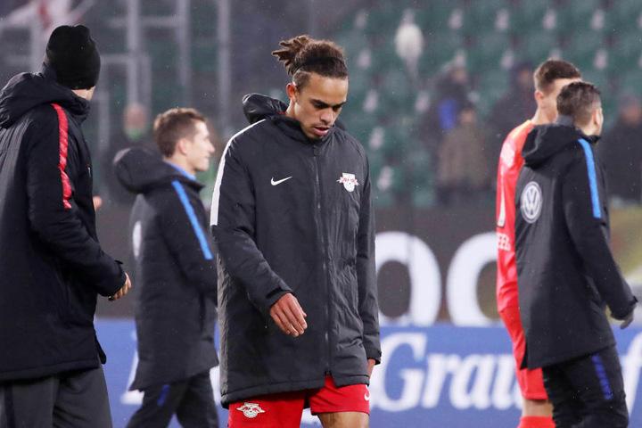 Hängender Kopf bei Yussuf Poulsen. Der Angreifer war einer der Aktivposten in Wolfsburg, vergab zwei gute Chancen.