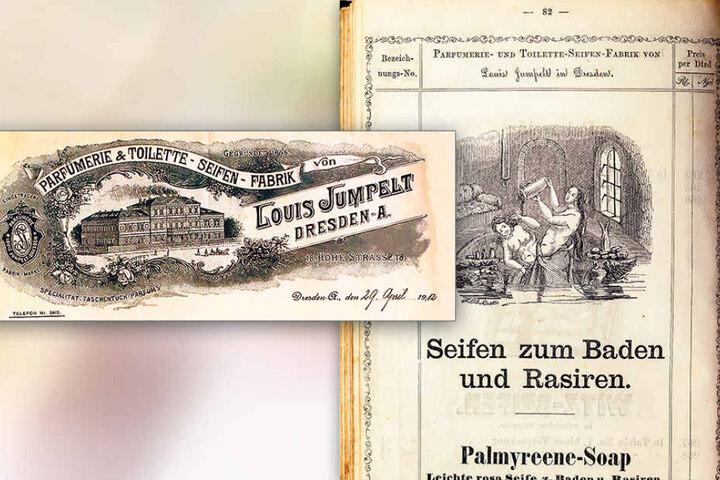 Die Zeichnung stammt aus dem Preisbüchlein von 1860 der Parfümerie- und  Toiletten-Seifen Fabrik Louis Jumpelt.