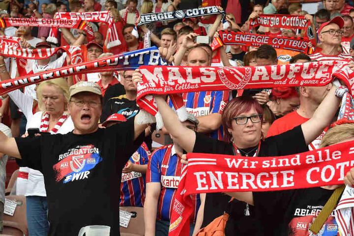 Die Cottbuser Fans feuern ihre Mannschaft an.
