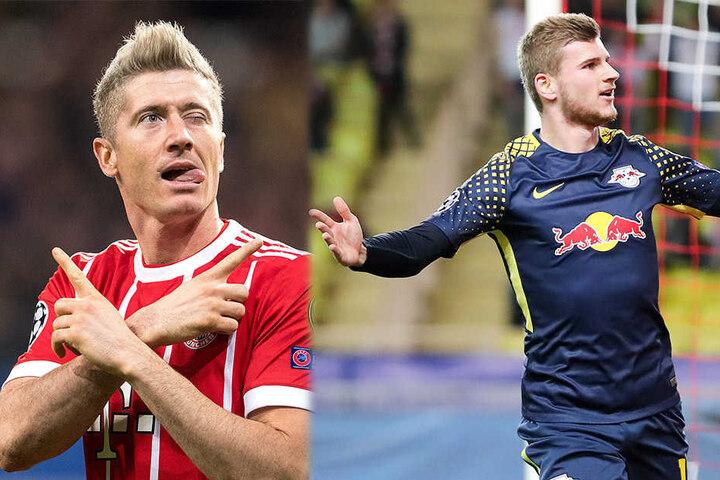 Robert Lewandowski vom FC Bayern (li.) hat laut Ailton einen knappen Vorsprung vor Leipzigs Timo Werner (re.).