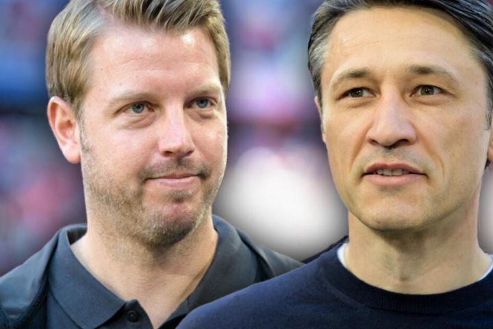 Bremen-Trainer Florian Kohfeldt (l.) und FCB-Coach Niko Kovac (r.) sind beim Elfmeter nicht einer Meinung.
