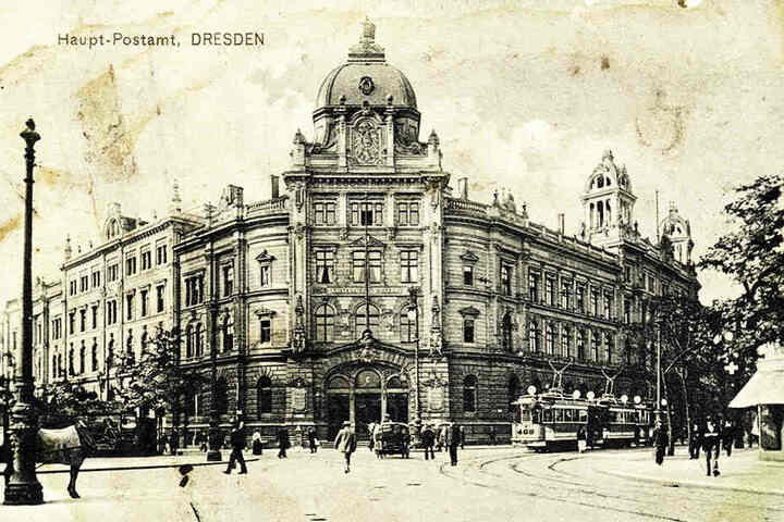 So prächtig sah die Oberpostdirektion Dresden um 1910 aus.