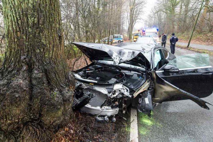 Der Wagen krachte frontal gegen einen Baum.