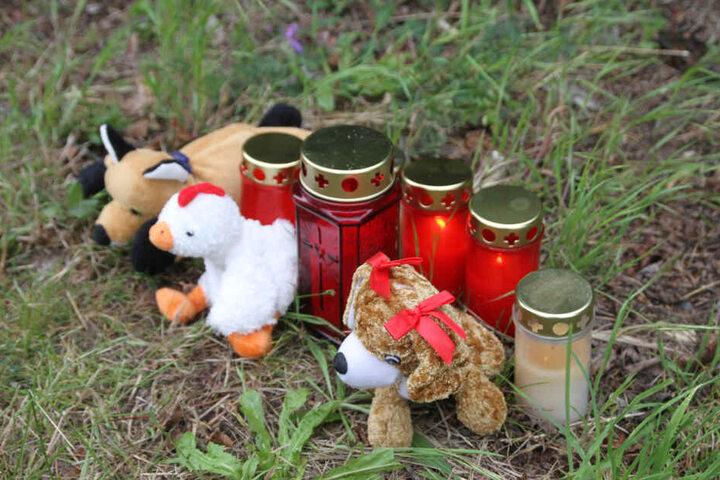 Am Fundort liegen Kuscheltiere und Kerzen.