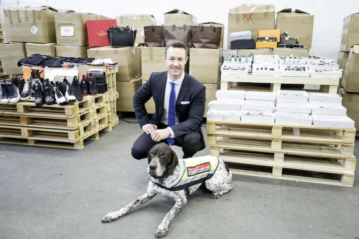 Finanzminister Gernot Blümel (38) präsentiert mit einem Zollhund einige der rund 2400 gefälschten Produkte.
