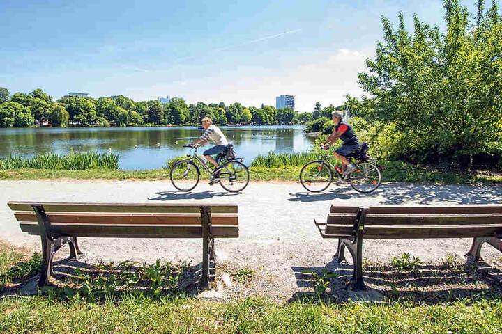 Radfahrer lieben das Schlossteichgelände. Aber die Wege sind  löchrig, teils bröckelt der Asphalt. Besserung nicht in Sicht.