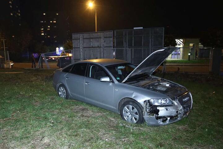 Nachdem der Zaun durchbrochen wurde blieb der Audi stehen.