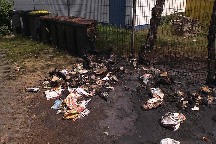 Im Wittenberger Feld brannten Papiercontainer.