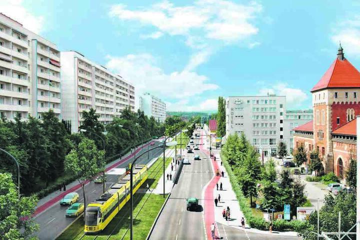 Laut einer ersten Vorplanung könnte die Trasse auf der Budapester Straße so  aussehen.