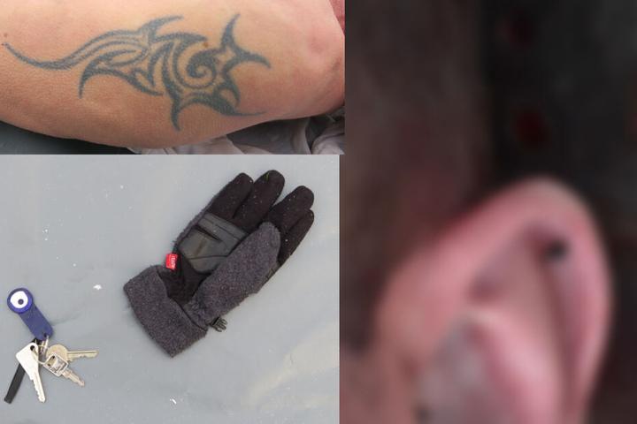 Am linken Oberarm trug der Mann eine Tätowierung. Außerdem wurde dieser Schlüsselbund bei dem Toten gefunden.
