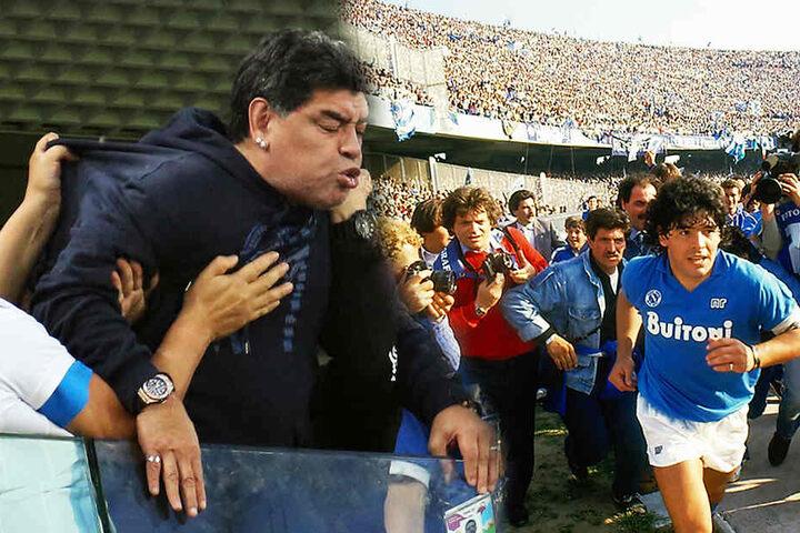 Diego Maradona 2018 bei einem Ausraster während der WM 2018 (l.) und 1984 bei seiner Vorstellung in Neapel. (Bildmontage)