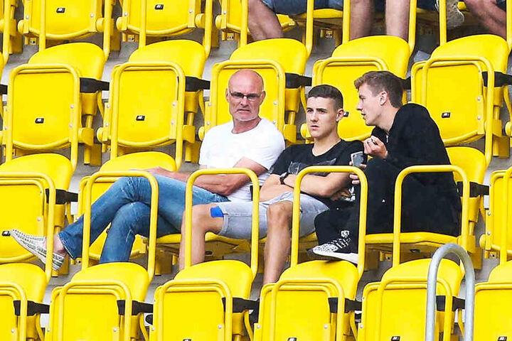 Drei Hauptmänner im Dresdner Harbig-Stadion: Vater Ralf, Marius und Niklas (v.l.).
