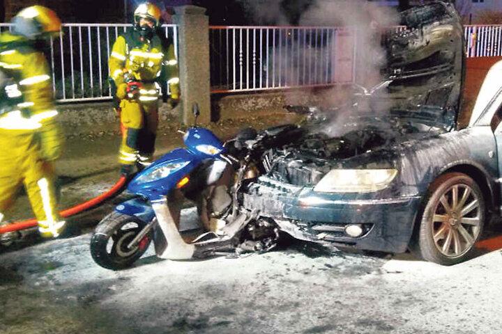 Der betrunkene David K. (31) fuhr nach dem Crash einfach weiter, hatte dabei noch Renés Motorroller im Phaeton stecken.