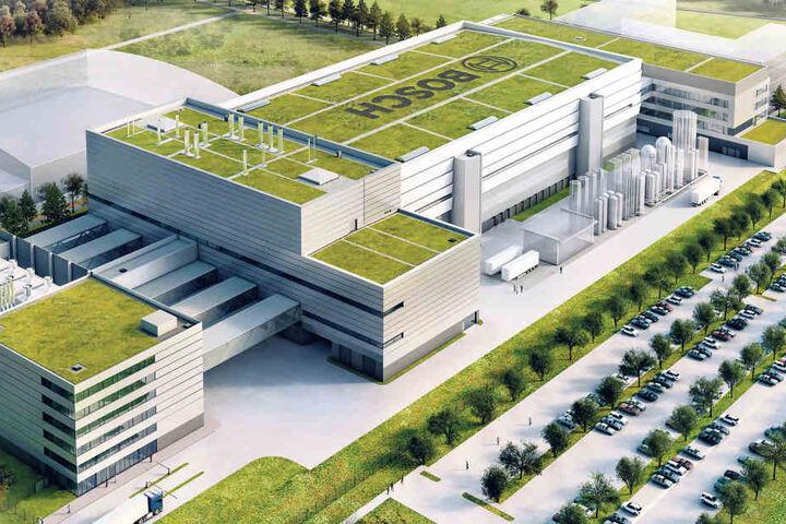 Ein Blick auf der Werk aus Nordosten: So soll Boschs moderste Halbleiterfabrik schon Ende 2019 aussehen.