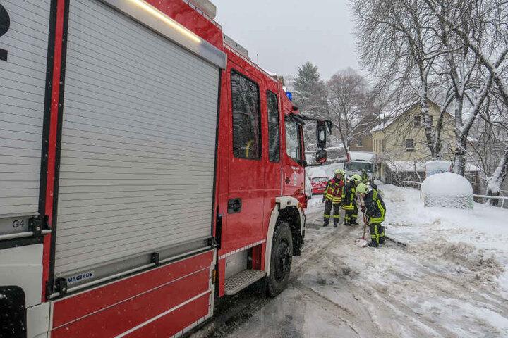 Die Feuerwehr zog den LKW wieder auf die Straße.