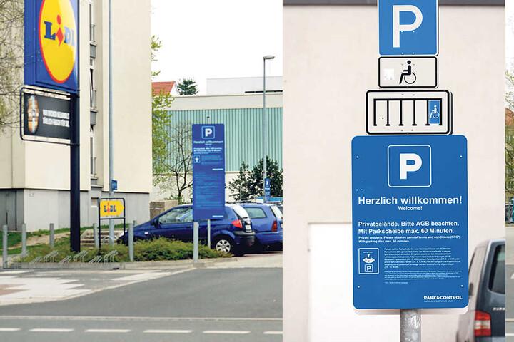 """Auch auf dem Lidl-Parkplatz am Pirnaischen Platz  müssen Fremd- und Falschparker mit Strafen rechnen. Die Firma """"Park & Control"""" fahndet für Lidl nach Parkplatz-Sündern, warnt Kunden  sogar zweisprachig."""