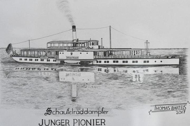 """Die Zeichnung von Thomas Bartels zeigt das Dampfschiff """"Junger Pionier"""", das 2001 verschrottet wurde."""