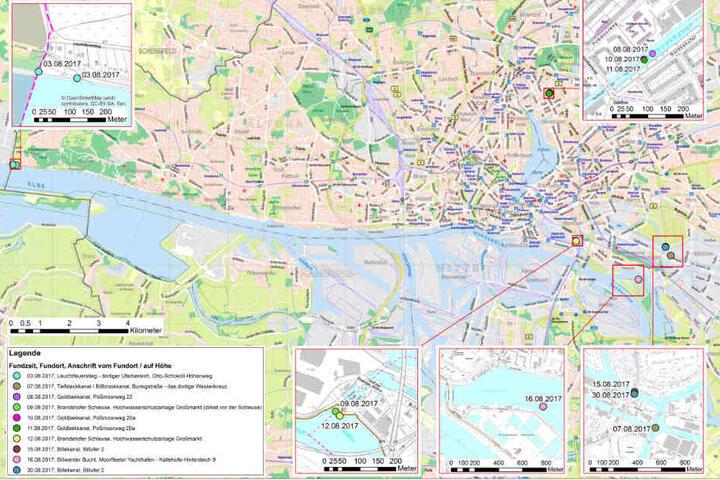 Die Karte zeigt die zehn Fundorte in ganz Hamburg.