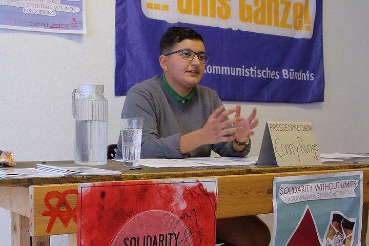 """Conny Runge (21) von """"Solidarity without limits"""" ruft zu Störaktionen gegen  die Feier auf."""