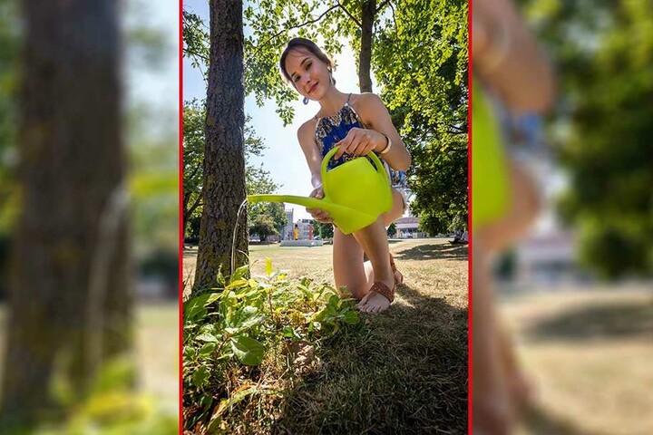 Schon zehn Liter pro Woche können einem jungen Baum helfen. TAG24-Reporterin Isabel Möller (22) greift gern zur Gießkanne.