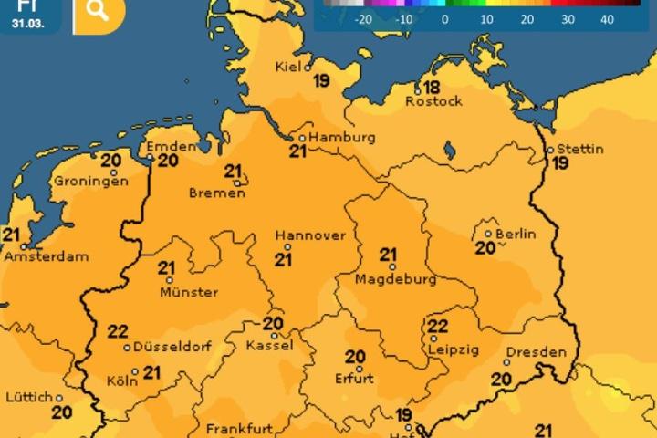 Die Wettervorhersage für Freitag, 31. März.