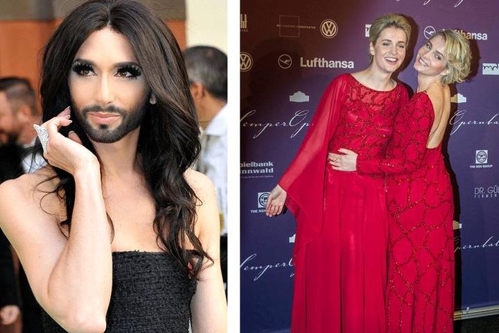 Conchita Wurst (li.) und die Werbe-Zwillinge Julia und Nina Meise (32).