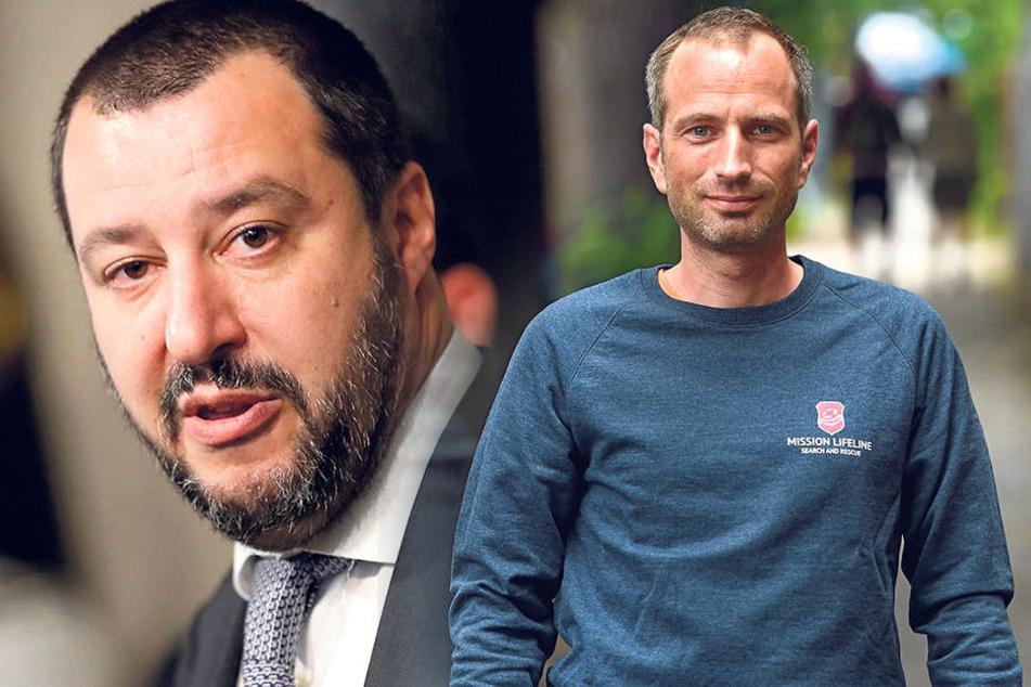 """Axel Steier (re.) und seine """"Mission Lifeline"""" haben ein Ziel: Menschen in Seenot retten. Der italienische Innenminister Matteo Salvani hat andere Pläne: Italien habe keinen Platz mehr für Flüchtlinge, Rettungsschiffe werden abgewiesen."""