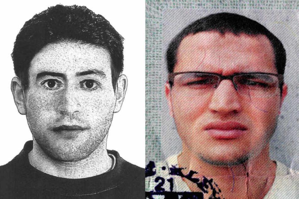Links das Fahndungsfoto nach dem Mörder von der Alster, rechts der Berliner Attentäter Anis Amri.